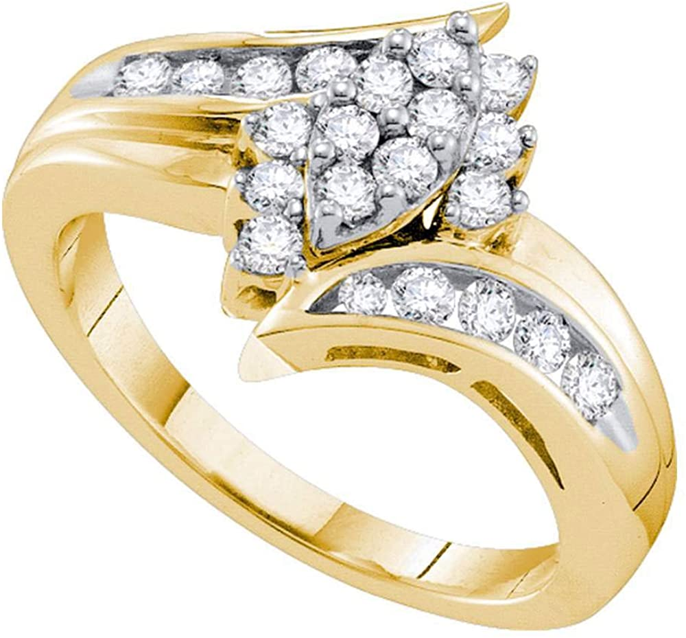 Dazzlingrock Collection 14kt Yellow Gold Womens Round Diamond Marquise-shape Cluster Ring 1/2 ctw