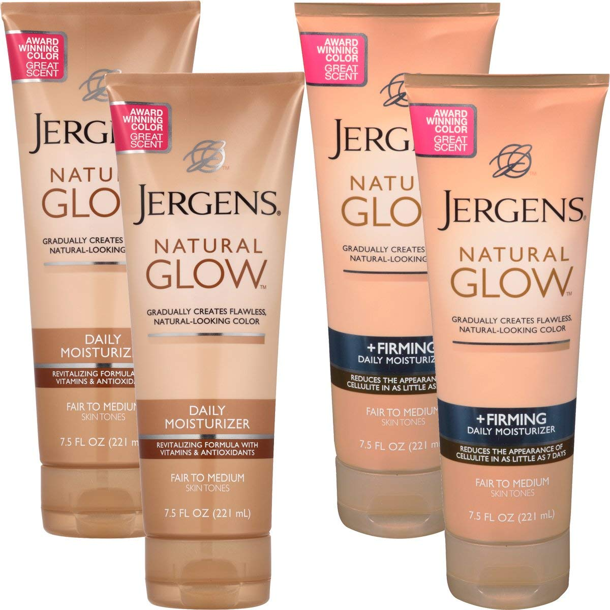 Jergens4 Pack Natural Glow Sunless Tanning Body Lotion Firming Daily Moisturizer