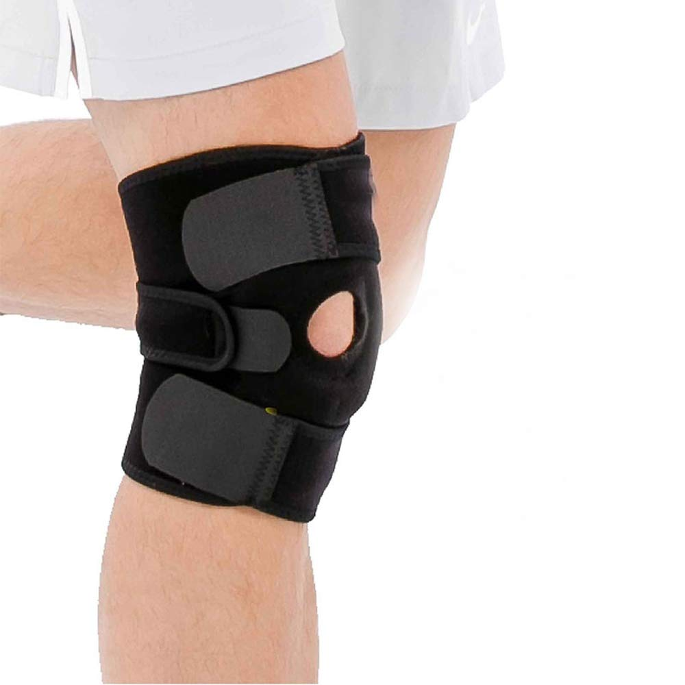 Knee Brace Support-Open Patella Dual Stabilizers Non Slip Comfort Breathable Neoprene, Adjustable Strapping Knee Brace Support Sports Outdoor For Men and Women-Single (Black, Large)