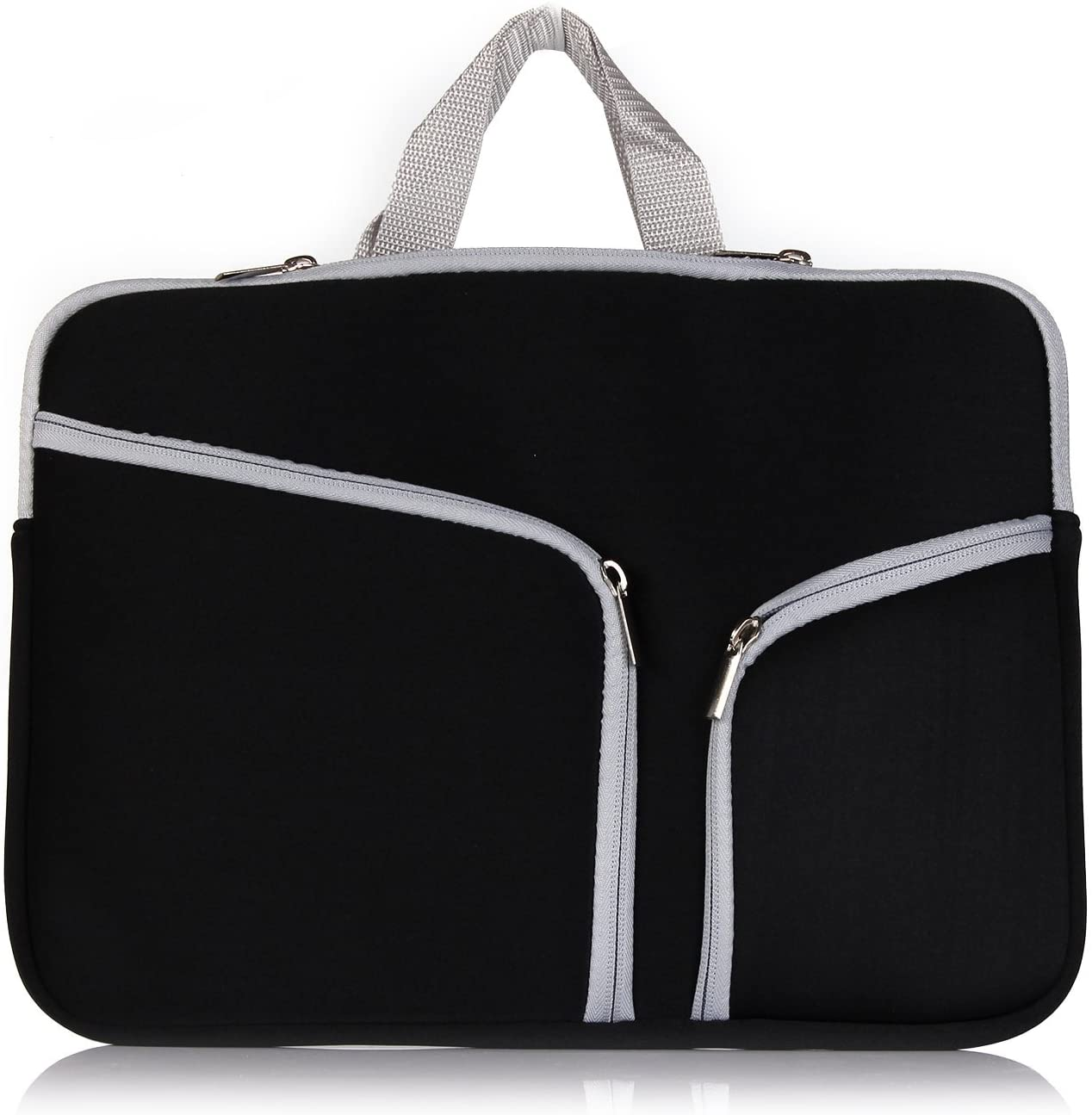 L2W 13.3-Inch Neoprene Laptop Protective Sleeve Carrying Case Bag with Zipper & Built-in 2 Pockets, Handbag, Black