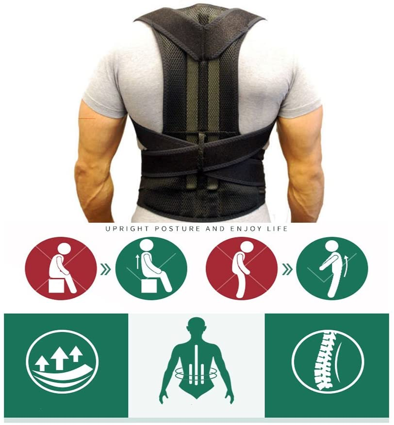 Comfort Posture Corrector and Back Support Brace, Back Pain Relief for Men and Women Black (S)