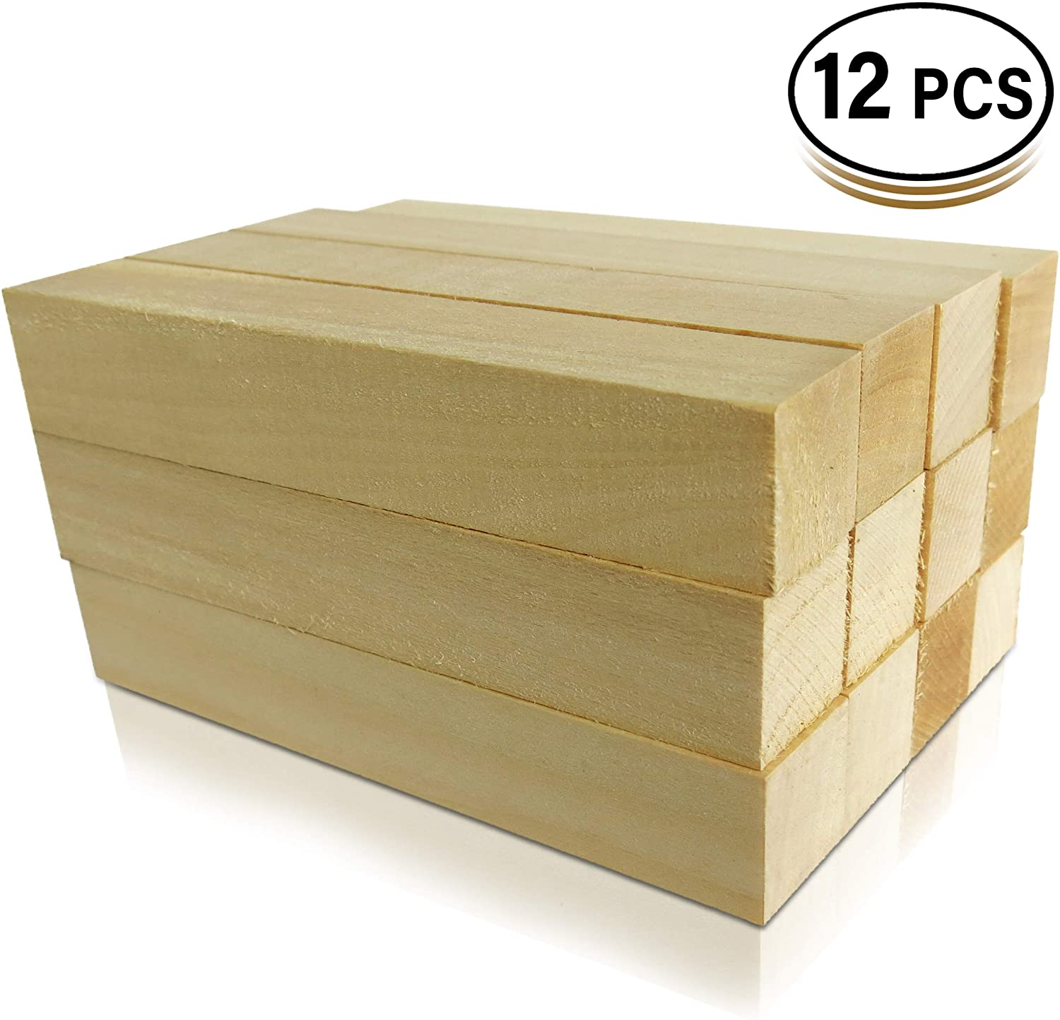 12 Pack Basswood Blocks 6 X 1 X 1 Inches Premium Soft Wood Blocks for Carving and Whittling