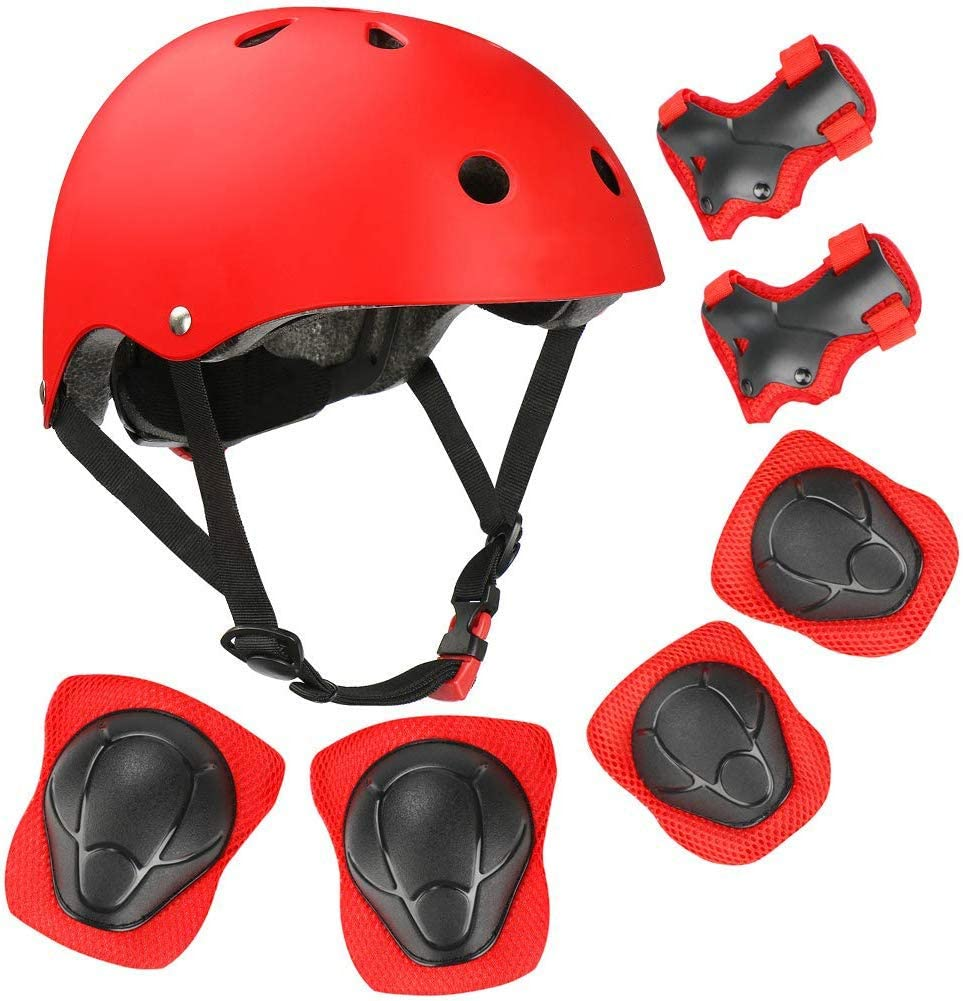 VTOSEN Kids Helmet Pad Set Elbow Knee Wrist Pads for Sports Protective Gear Set Adjustable Safety Set with Strap for 3-8 yr Girls Boys Toddler Child Bike Cycling Skating Roller Scooter Outdoor Sports