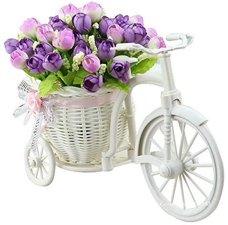 JAROWN Bike Vase Bicycle Plant Stand Artificial Flower Decor Light Purple 1pcs
