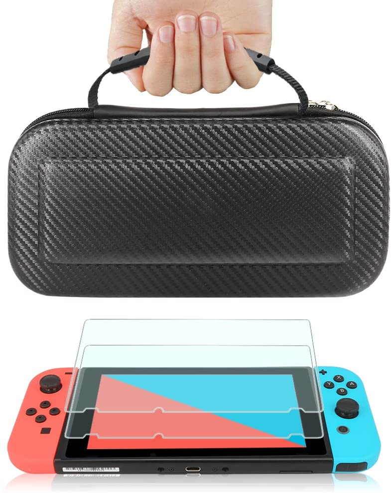 TJS Case for Nintendo Switch with [2 Pack Tempered Glass Screen Protector] Carbon Fiber Texture Hard Travel Carrying Case Shell Carry Pouch - Black