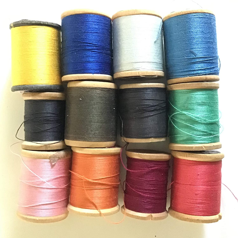 12 Spools Thread Wood Spools, J. & P. Coats. Variety of fibers, Colors and Weights.