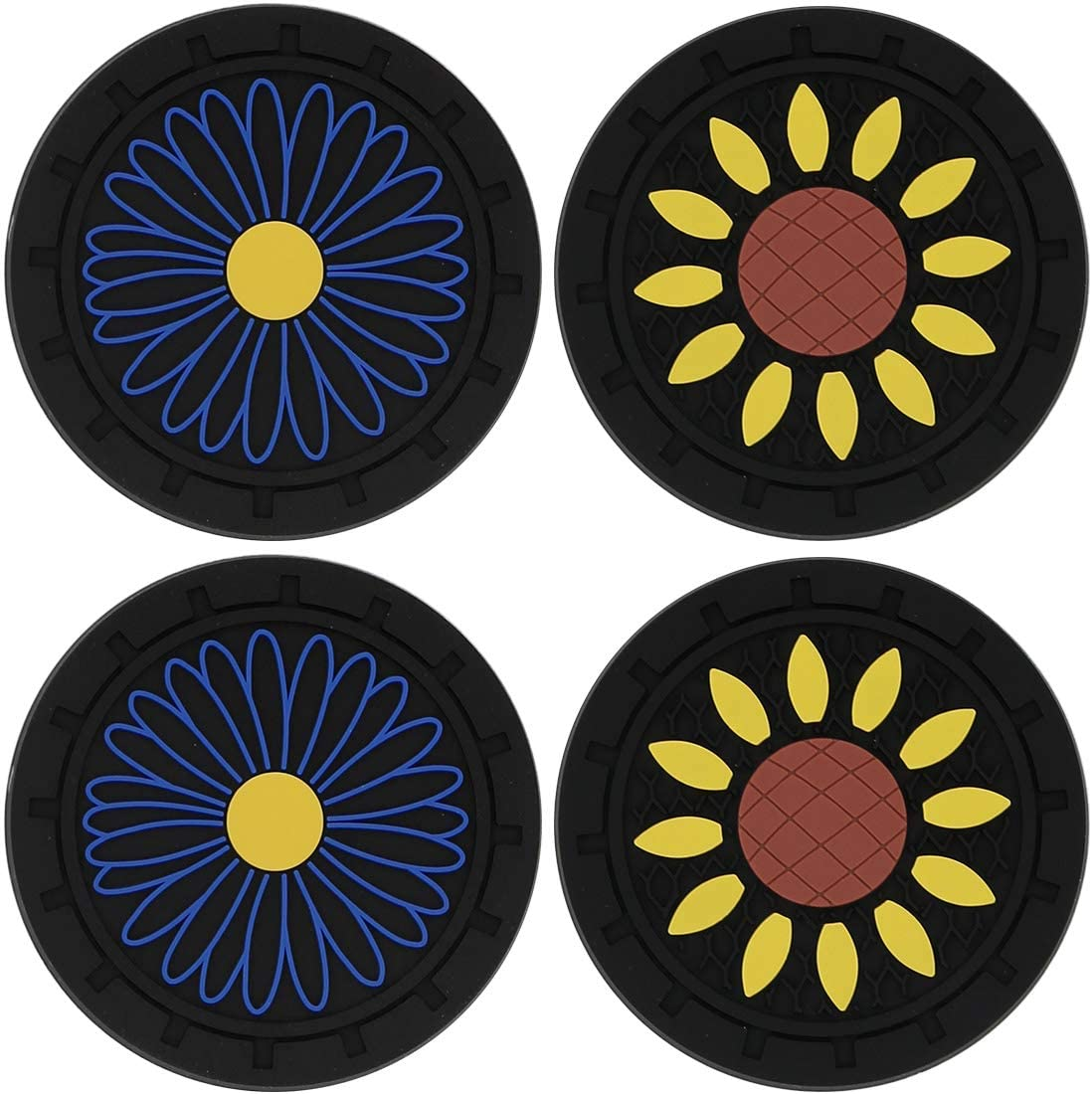 Youteer Car Cup Holder Insert Coasters Silicone Anti Slip Mat Accessories for Jeeps Cars Trucks RVs and More 4 Packs 2.75 inch Sunflower & Blue Cornflower