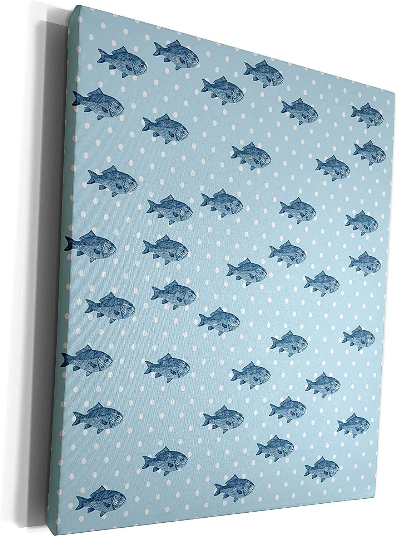3dRose PS Beach - Blue Fish Polka dots beach theme art - Museum Grade Canvas Wrap (cw_178938_1)