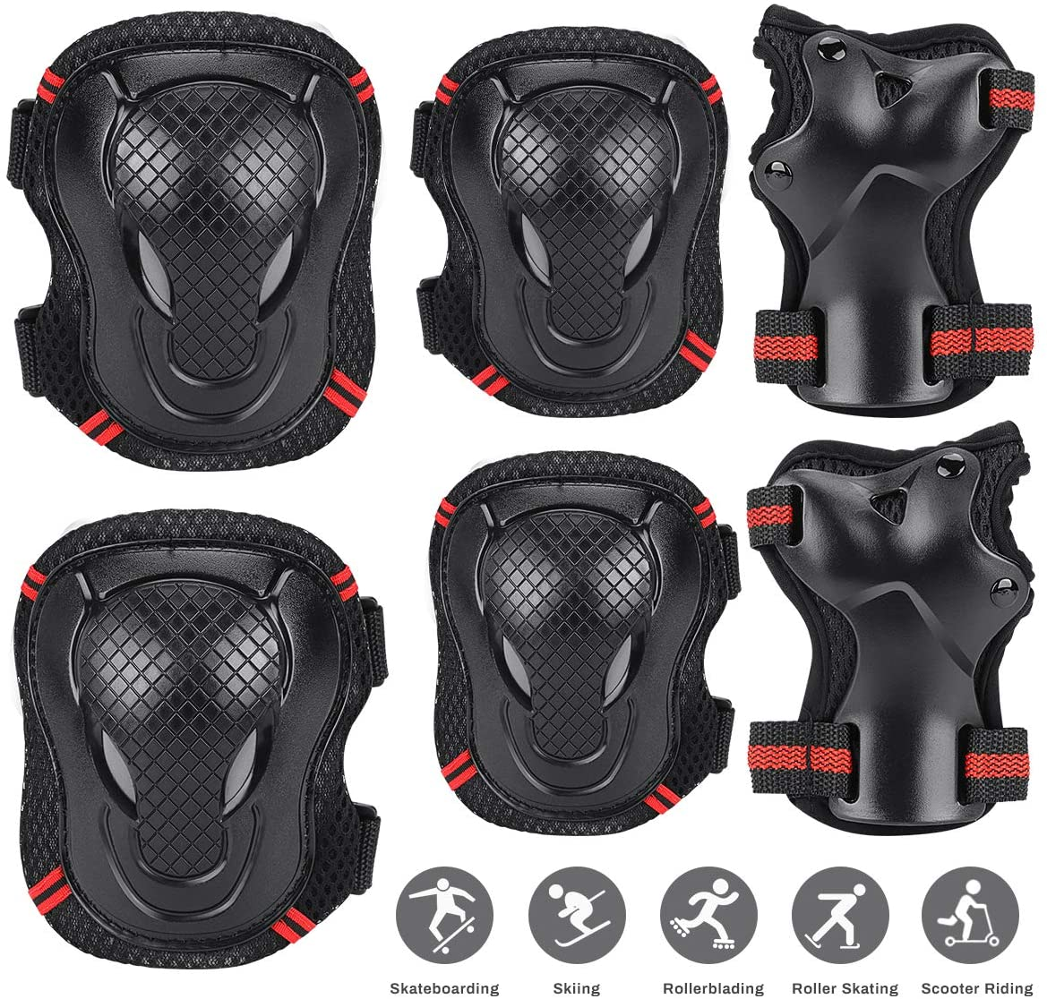 Jhua Kids Knee Pads Elbow Pads Wrist Guards for Kids Youths Toddlers Children, Adjustable Sports Protective Gear Set for 3-8 Years Old Cycling Skateboarding Skating and Kick Scooter - Black