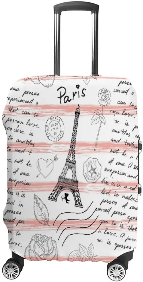 ZHIMI Luggage Cover Vintage pattern with Eiffel Tower Elastic Dust-proof Case Washable Baggage Cover Travel Suitcase Protector For 18-32 Inch Luggage
