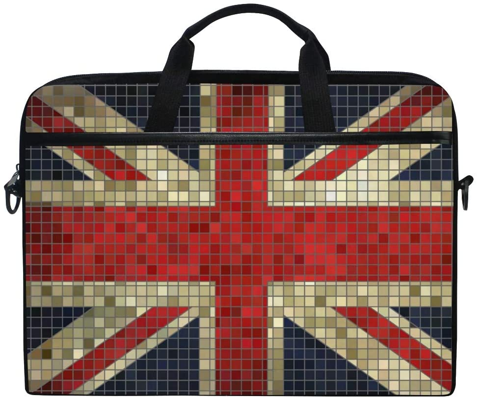 MRMIAN British Flag with Glitter Lattice Laptop Case Bag Sleeve Portable/Crossbody Messenger Briefcase Convertible w/Strap Pocket for MacBook Air/Pro Surface Dell ASUS hp Lenovo 15-15.4 inch