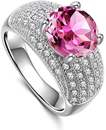 MGZDH Women's Zircon Ring Luxury Women's Zircon Ring Plated 925 Silver Ring, Pink, 6