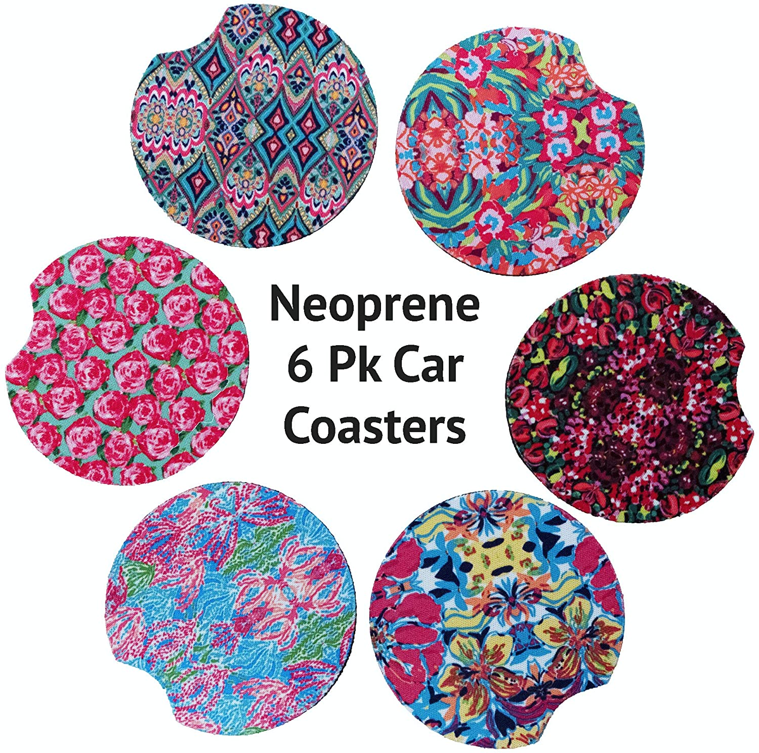 Car Coasters for Cup Holders 6 Pack Car Cup Holder Coasters Floral Pink Car Coasters for Women 2.65