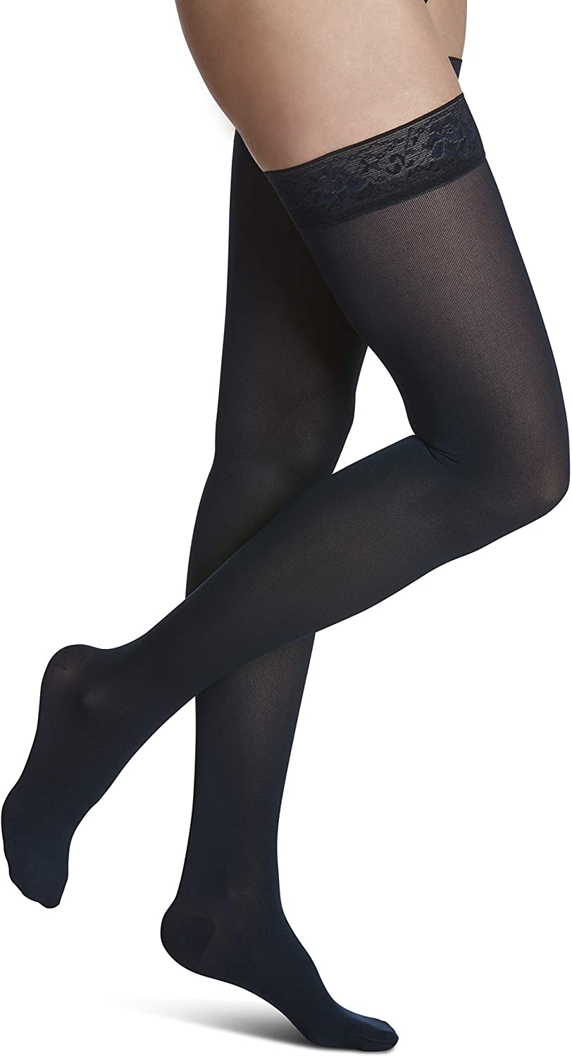 SIGVARIS Women's Style Soft Opaque 840 Closed Toe Thigh-Highs w/Grip Top 20-30mmHg