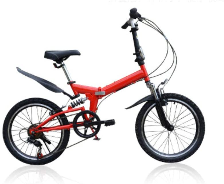6-Speed Mountain Bike 20 Inch Foldable High Carbon Steel Frame Teens Adults Bicycle Outdoor Sport Fitness for All-Terrain