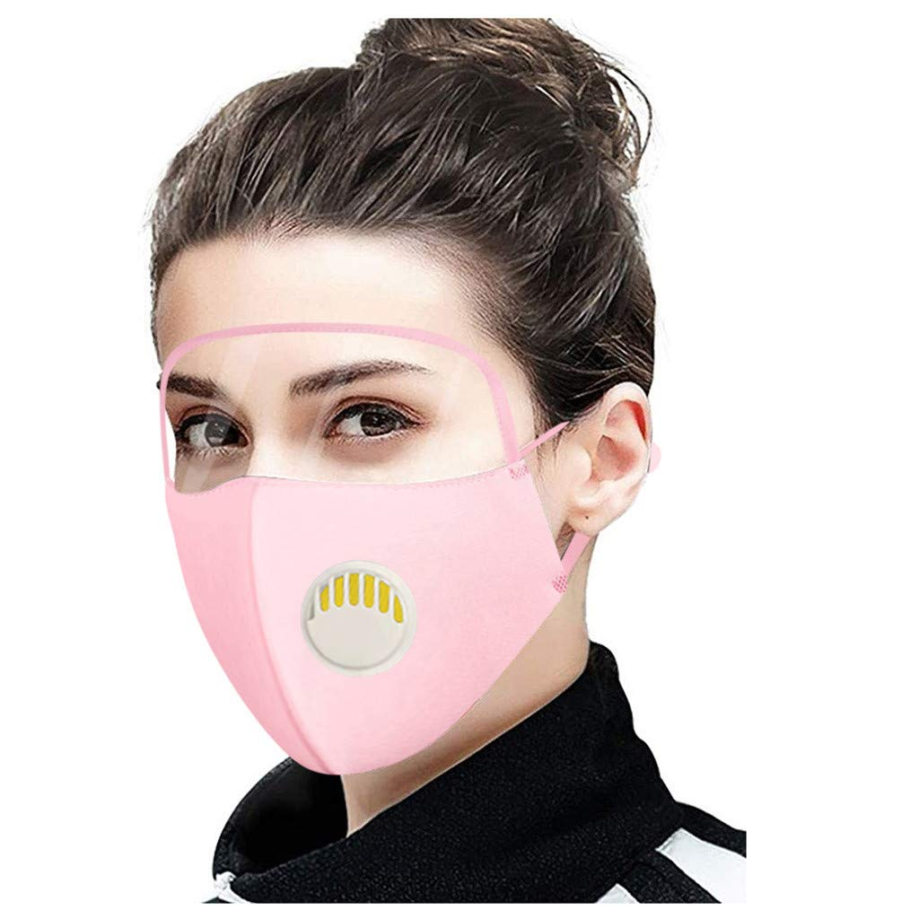 Reusable and Breathable, 3PC Face Bandanas with Breathing Valve with Eyes Shield (PVC), Cloth Covering for Face, Indoors and Outdoors, Anti-Haze Dust, for Adults