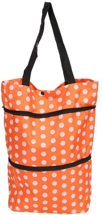 Lanscoe 24L Foldable Shopping Trolley Bag with Wheels Oxford Reusable Travel Handbag Portable Shopping Cart Baskets