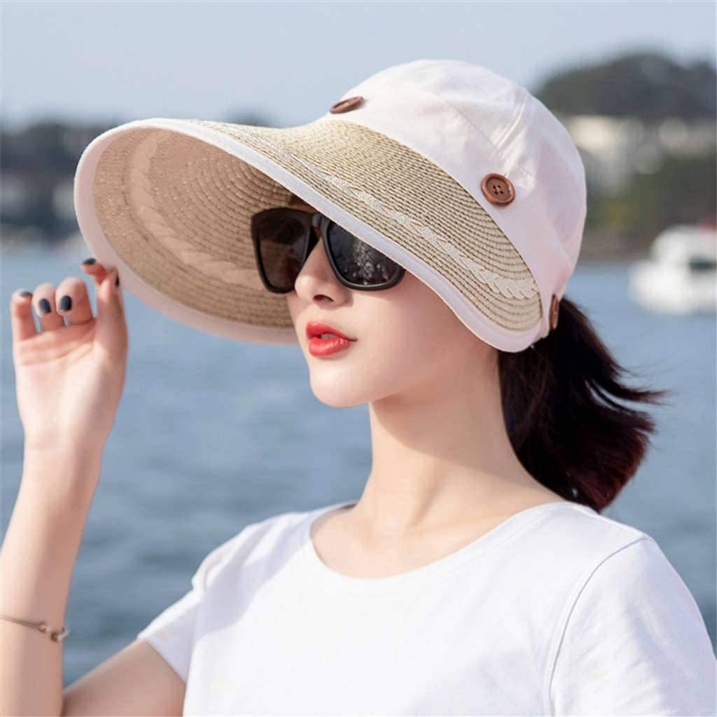 Nonebrand Visors Big Edge,Ms Summer Sun Protection Outdoor Empty Roof Straw Hat Fold Beach Holiday Hat