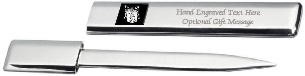 Worley Family Crest Surname Coat Of Arms Heraldry Engraved Letter Opener
