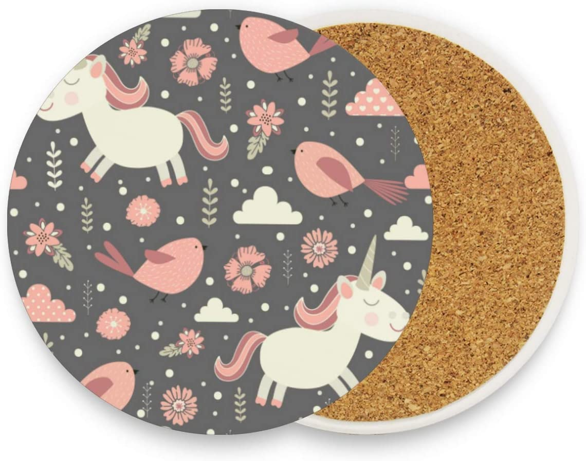 Cute Unicorns Round Coaster Set Table Coasters