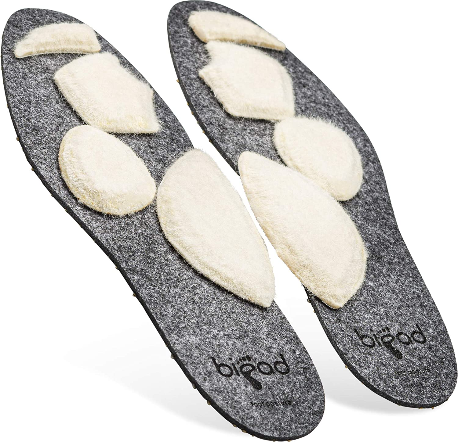 Bipad Plantar Fasciitis Orthotic Insoles for Men and Women – Shoe Inserts with Removable and Customizable Pads for Arch Support, Bones, Ligaments, and Tendons – Unisex Athletic Cushion Inserts, Small