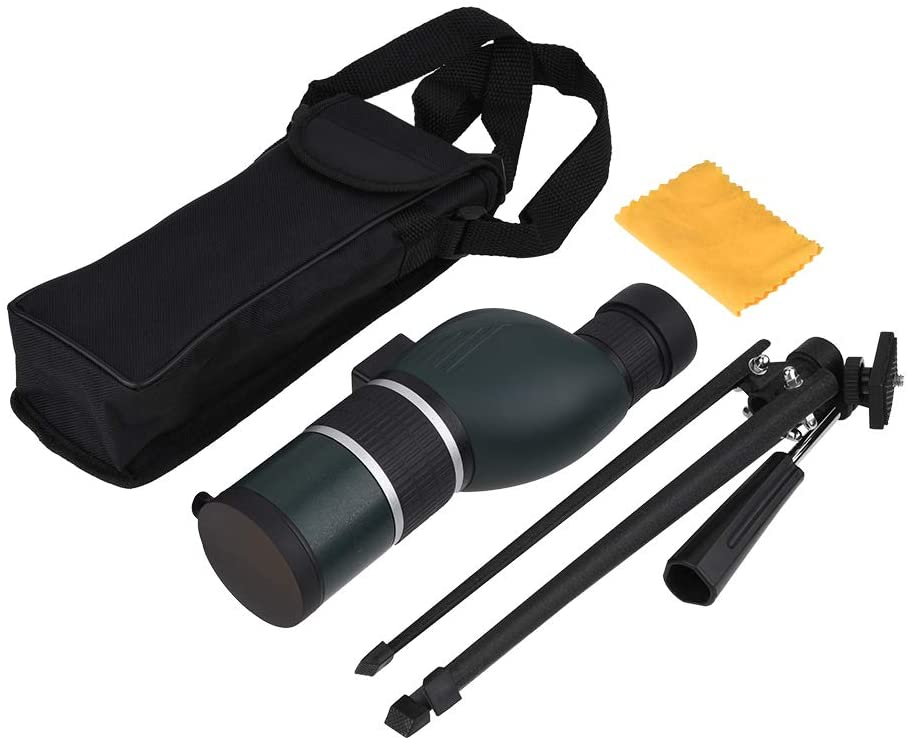 Delaman Spotting Scope Monocular, Outdoor 12-36X Zoom 50mm Straight/Angled Spotting Scope Monocular with Tripod for Bird Watching (Angled-13)