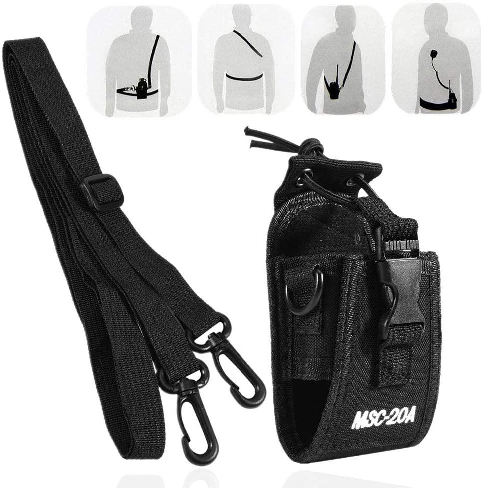 Zerone Walkie Talkie Case, Walkie Talkie Strap Holder Nylon Pouch Case Bag with Strap for Kenwood/Motorola/HYT Two-Way Radio