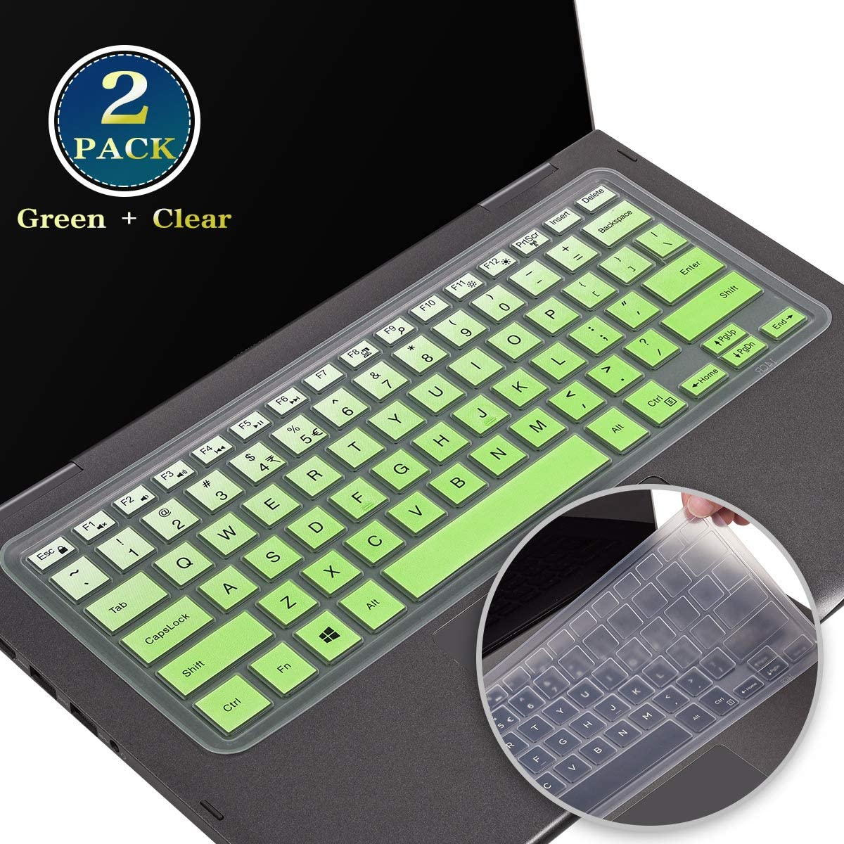 2 Pack Keyboard Cover Skin for Dell Inspiron 13 5000 i5368 i5378 i5379/Inspiron 13 7000 7368 7378 7380 7386, Dell Inspiron 15 5000 5568 5578 5579/ Inspiron 15 7000 7570 7573 7586(Ombre Green+Clear)