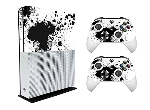 Xbox One S Slim Console and Two Controllers Skin Black Splatter Quote