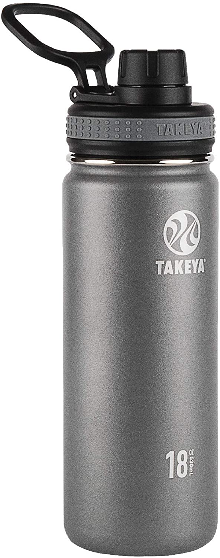 Takeya Originals Vacuum-Insulated Stainless-Steel Water Bottle, 18oz, Graphite