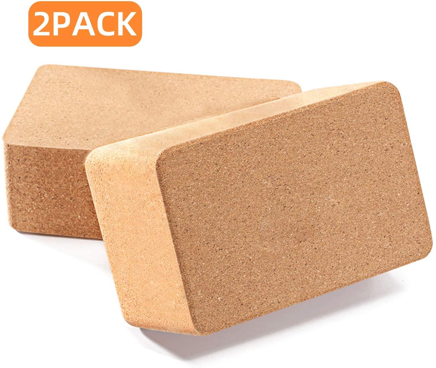Huryfox 2 Packs Cork Yoga Block, Non-Slip Exercise Brick Premium High Density Wood Yoga Bricks, Fitness Brick for Women & Men, Pilates, Training, Meditation, Gym, Home (9x6x3)