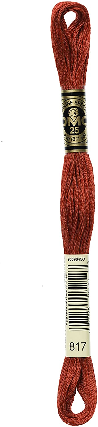 DMC Bulk Buy Thread 6-Strand Embroidery Cotton 8.7 Yards Very Dark Coral Red 117-817 (12-Pack)