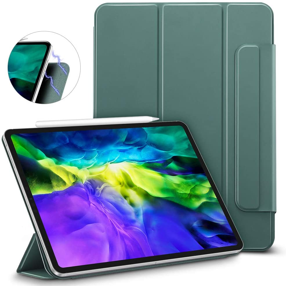ESR Rebound Magnetic Smart Case for iPad Pro 11 2020 & 2018,Convenient Magnetic Attachment [Supports Pencil Pairing & Charging] Smart Case Cover, Auto Sleep/Wake Trifold Stand Case, Forest Green