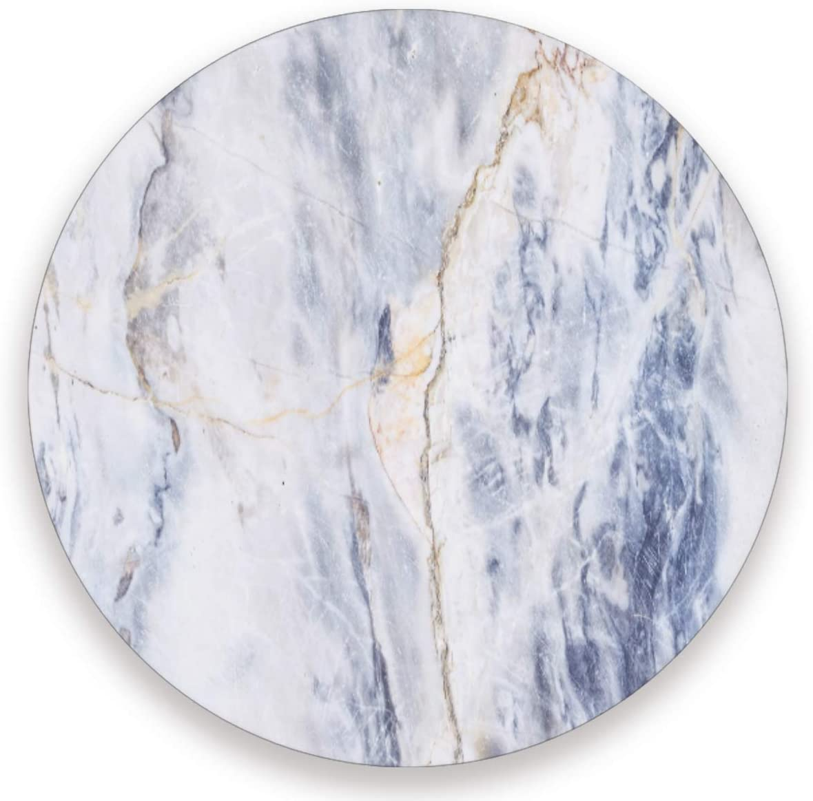 Olinyou Pale Blue Marble White Art Coaster for Drinks 1 Pieces Absorbent Ceramic Stone Coasters with Cork Base