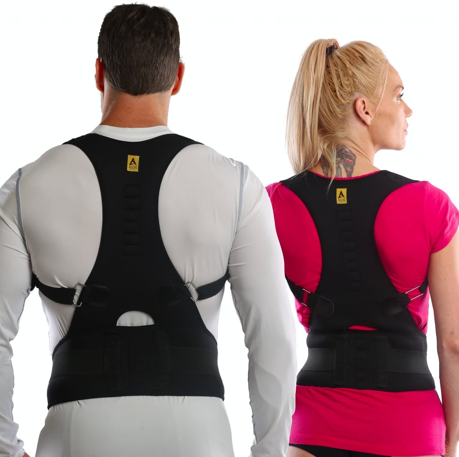 Agon® Thoracic Back Brace Posture Corrector - Magnetic Support for Back Neck Shoulder Upper Back Pain Relief Perfect Product for Cervical Spine Fully Adjustable with Magnets (Small/Medium)