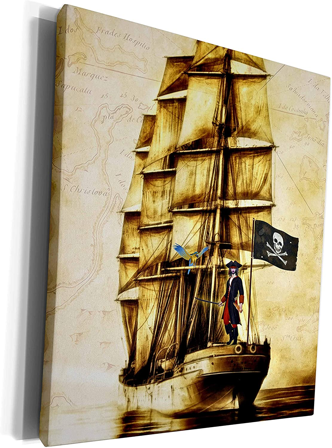 3dRose Doreen Erhardt Kids Collection - Vintage Pirate Ship with Parrot and Old World Map - Museum Grade Canvas Wrap (cw_217314_1)