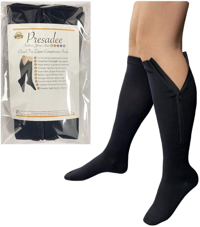 Presadee Closed Toe 15-20 mmHg Zipper Moderate Compression Leg Circulation Socks (Black, S/M)