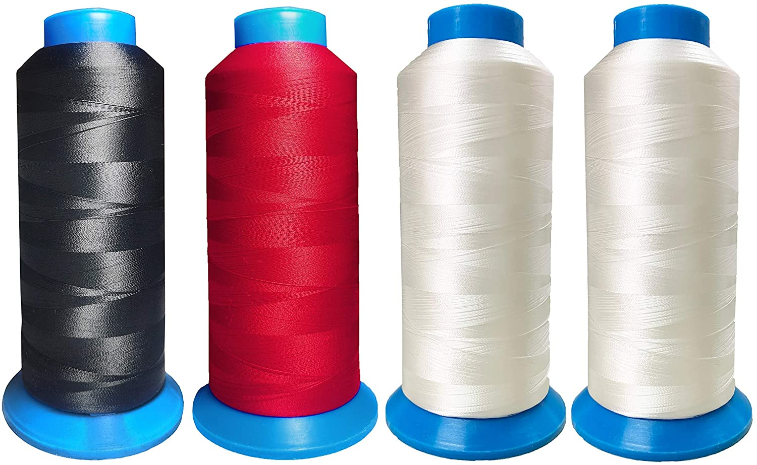 HimaPro Set of 4 Huge Spools Bobbin Thread(Black Red White White) for Embroidery Machine and Sewing Machine - 5500 Yards Each - 100% Polyester
