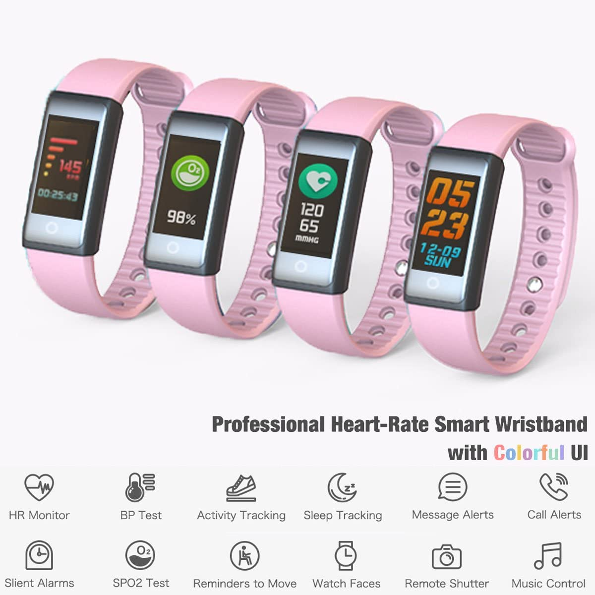 inDigi FTBracelet-X6s-PK-SO03 X6s Fitness Tracking Smartwatch Band with Heart Rate Monitor, Blood Pressure, SPO2 Levels, Pedometer & Calories Burned