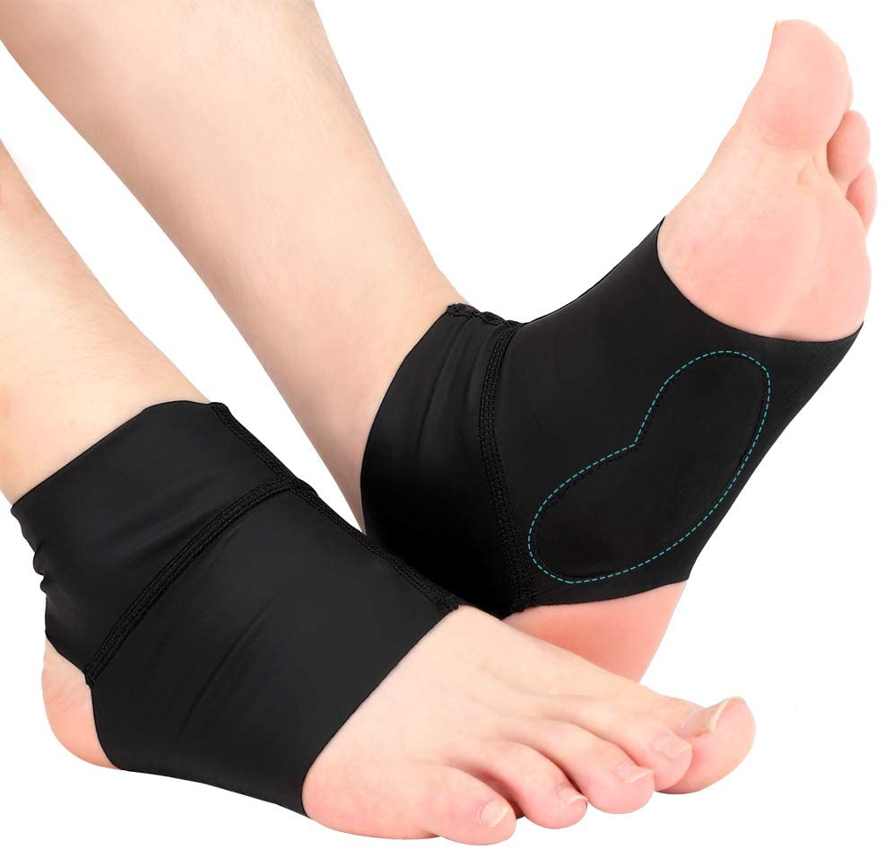Arch Ankle Support Sleeves for Flat Feet, Plantar Fasciitis Arch Socks with Gel Pads, Compression Ankle Arch Brace Wrap for Men and Women, Heel Spurs, Flat Foot, High/Low Arch Pain Relief, 1 Pair