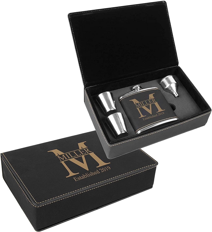 Personalized Leatherette Flask Gift Set | Custom Engraved (Black Gold)