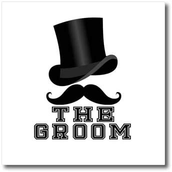 3dRose AMansMall Weddings - The Groom Text with Black Hat and Mustache Drawing, 3dramm - 10x10 Iron on Heat Transfer for White Material (ht_320655_3)