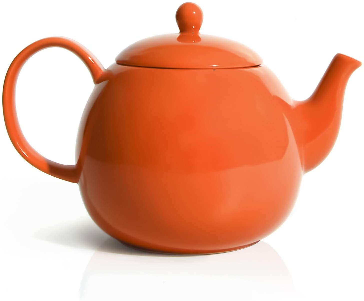 Sweese 220.106 Porcelain Teapot, 40 Ounce Tea Pot - Large Enough for 5 Cups, Orange