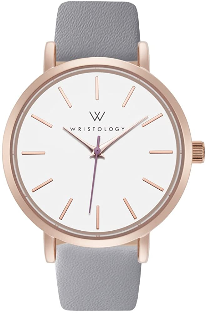 WRISTOLOGY Olivia Womens Watch Lines Rose Gold Boyfriend Ladies Grey Leather Strap Band