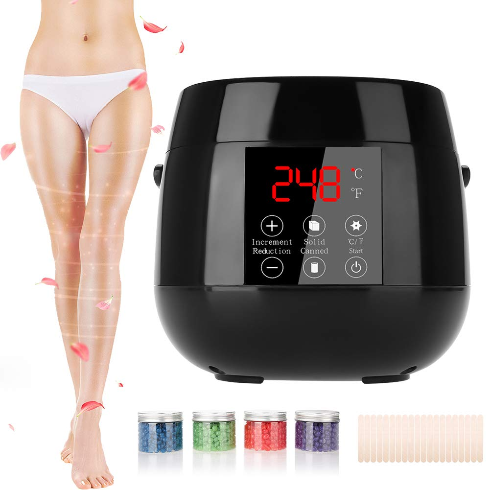 Wax Heater, Wax Warmer with Intelligent Display for Hard Wax Complete Waxing Kit with Hair Removal 400g Wax Beans and 20pcs Waxing Spatulas