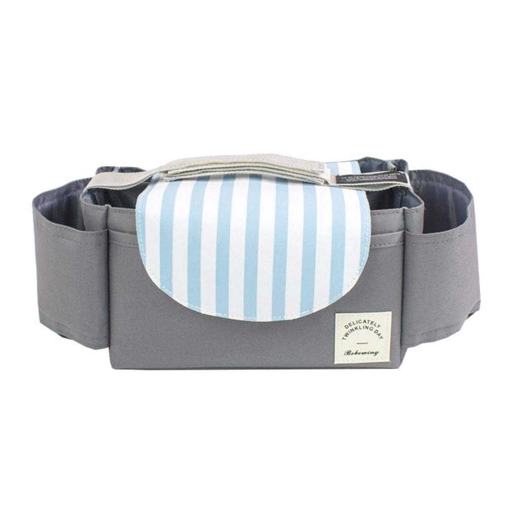 LYBABAY Universal Portable Stroller Organiser Pram Buggy Storage Bag Two Cup Holders, Waterproof, Large Storage Space for Toys Food Accessories (Color : Blue Stripes)