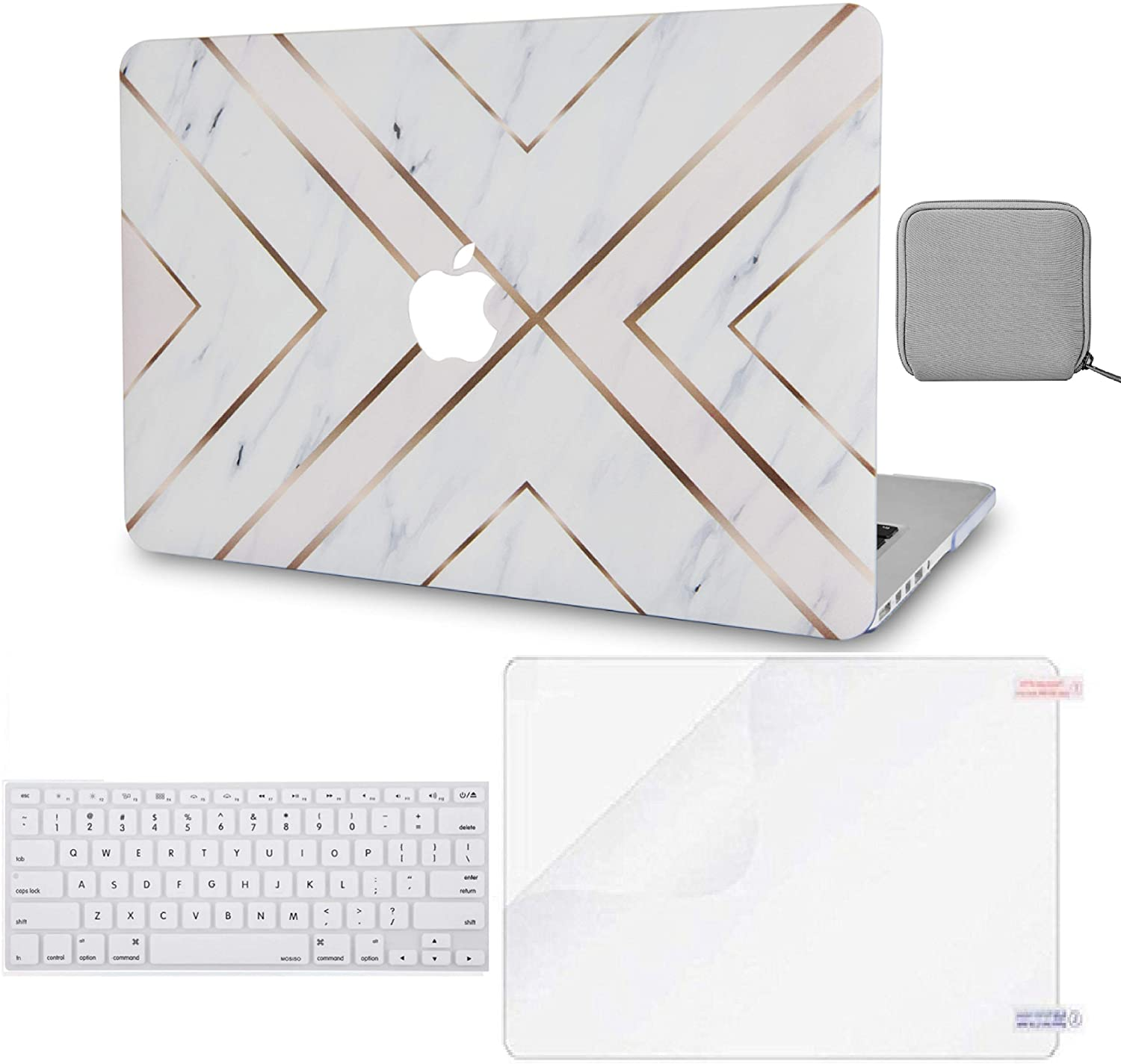 LuvCase 4 in 1 LaptopCase forMacBook Pro 16 Touch Bar (2020/2019) A2141 HardShellCover, Pouch, Keyboard Cover & Screen Protector(White Marble Gold Stripes)