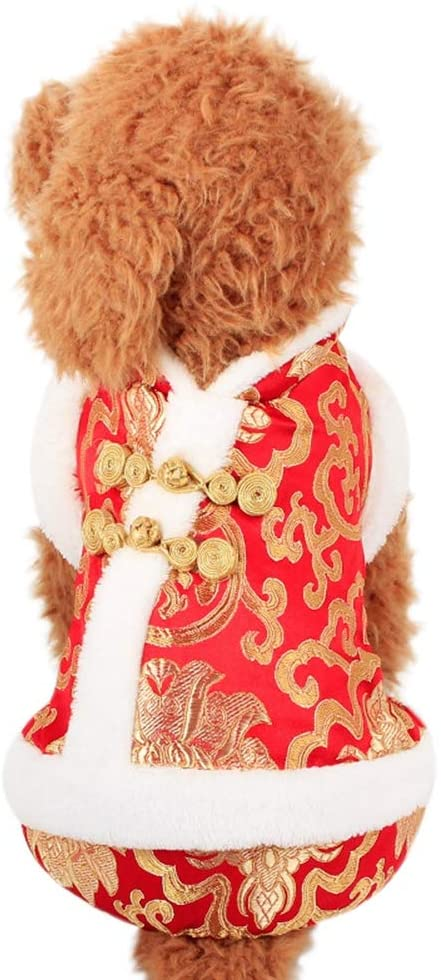 Patgoal Pet Dog Happy New Year Four Legs Suit Chinese Style Clothing Novelty Funny Festival Costume for Autumn Winter