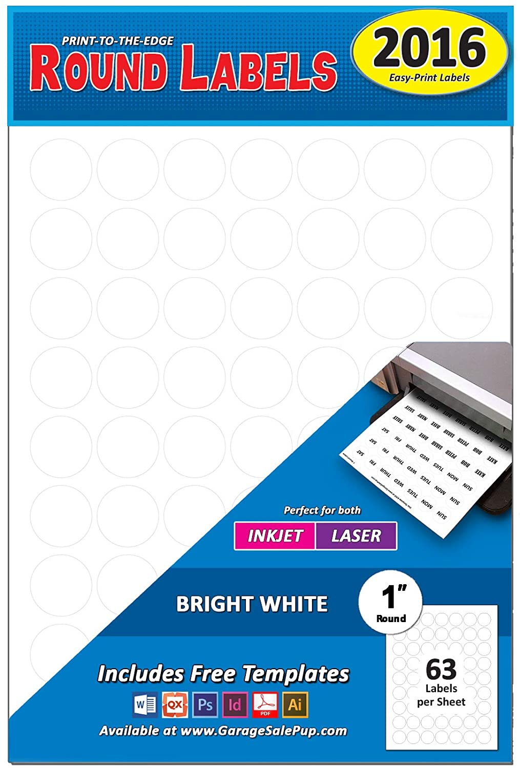 Pack of 2016, 1-inch Diameter Round Dot Labels, White, 8 1/2 x 11 Inch Sheet, Fits All Laser/Inkjet Printers, 63 Labels per Sheet, 1