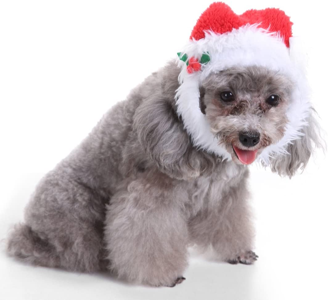 MaruPet Christimas Comfort Santa Dog Cat Costume Hat with White Goatee Red